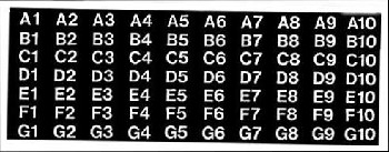 COLUMN LABEL, A1 - H10, BLACK WITH WHITE COPY, FOR AP 4000/6000/7000/110/111/112/113