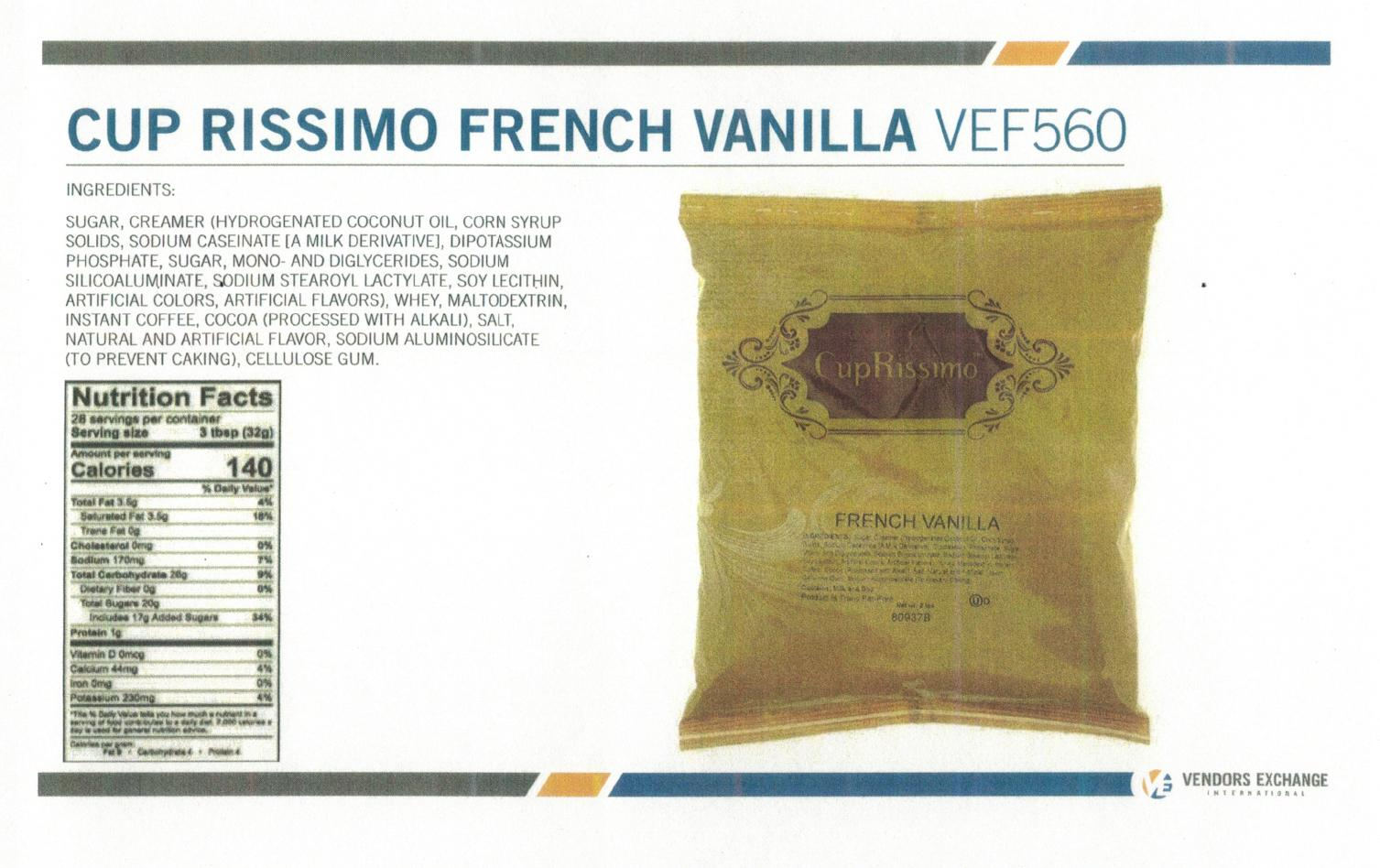 Coffee Vending Machine French Vanilla Topping Nutrition